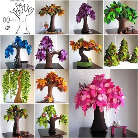 Handmade Creative Ideas - diy creative handmade felt trees from template felt tree