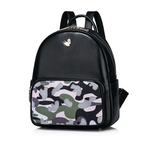 black pattern backpack nucelle top pu leather 2016 new camouflage pattern