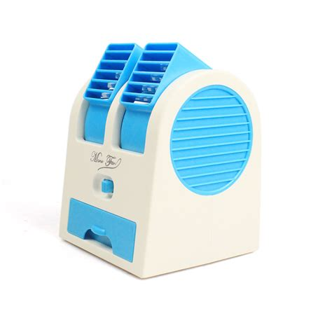 Mini Small Fan Cooling Portable Desktop Dual Bladeless Ac Fs56 handy small fan portable desktop dual bladeless air conditioner new 6 colors usb ebay