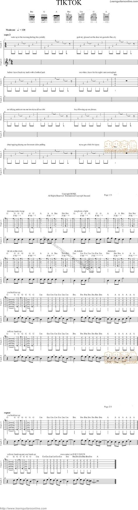 tik tok guitar tutorial tik tok by kesha free guitar sheet music tabs chords