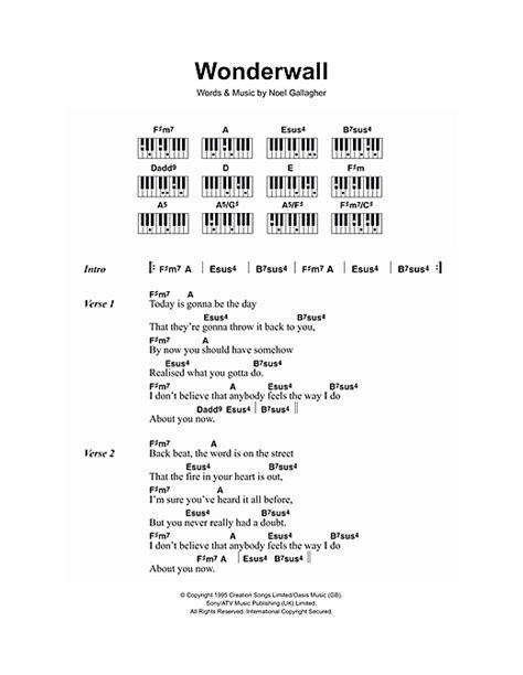 lyrics and piano chords wonderwall partituras por oasis lyrics piano chords