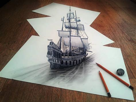 3d drawing 3d ship drawn on three flat sheets of paper by ramon bruin