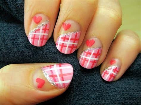 easy nail art cutepolish easy sweetheart plaid nail art youtube