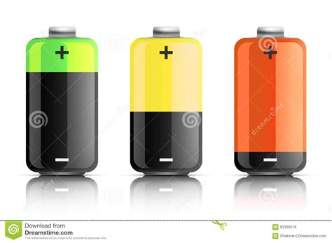 battery color illustration of three colored batteries stock illustration