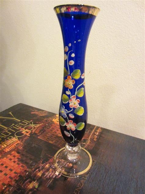 Glass Vases For Sale by Cobalt Glass Vase Painted Floral Gilt Enameling
