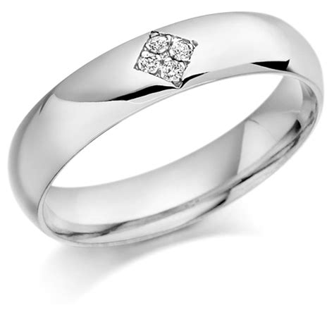 platinum gents 5mm wedding ring set with 6pts of diamonds