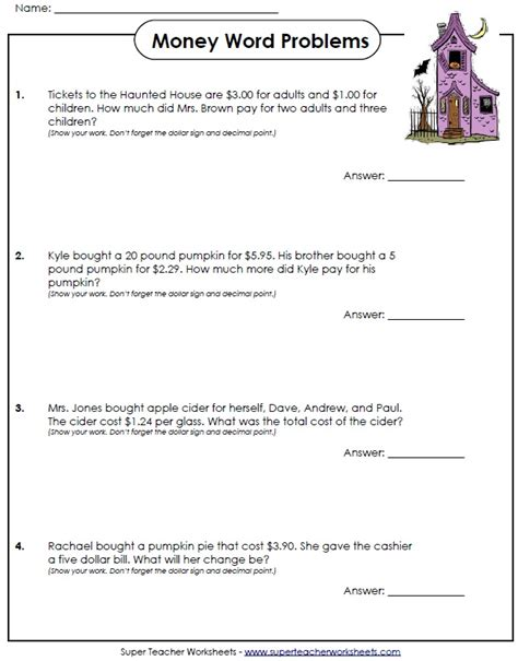 Money Word Problems Worksheets by Some With These Money Word Problems