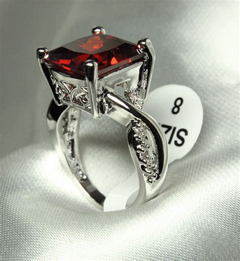 princess cut garnet cocktail ring 183 olivousretrojewelry