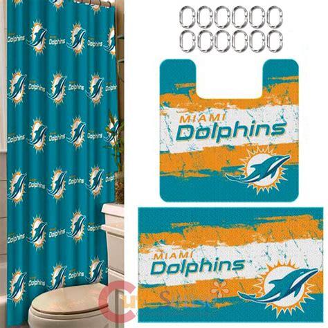 miami dolphins shower curtain miami dolphins 15pc bathroom rug shower curtain bath rings