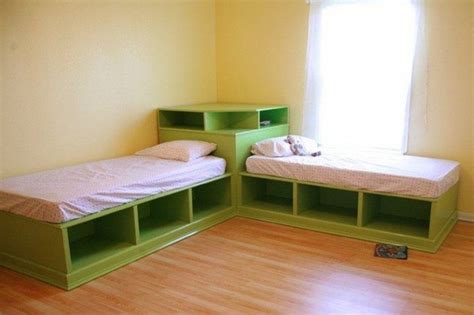 corner twin beds with storage how to build twin corner beds with storage diy projects