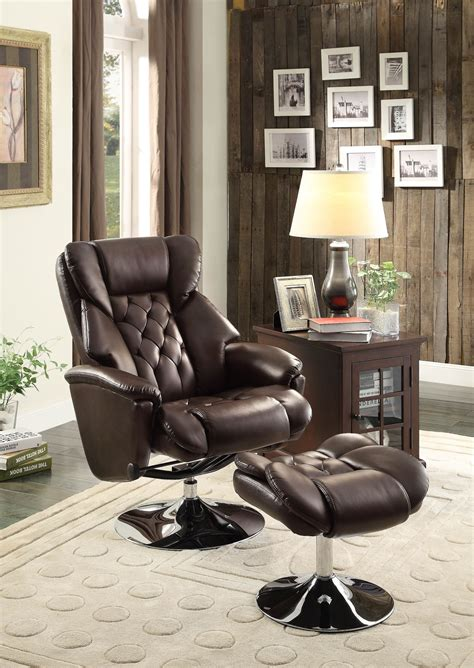reclining swivel chair with ottoman aleron brown swivel reclining chair with ottoman from