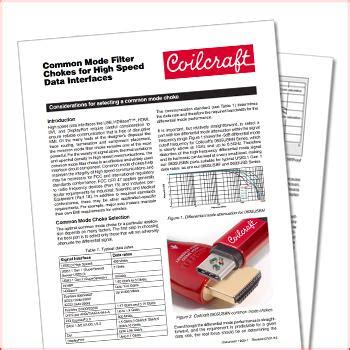 common mode choke coilcraft coilcraft considerations for selecting common mode filter chokes for high speed data interfaces