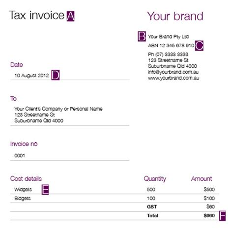 tax invoice template ato invoice example
