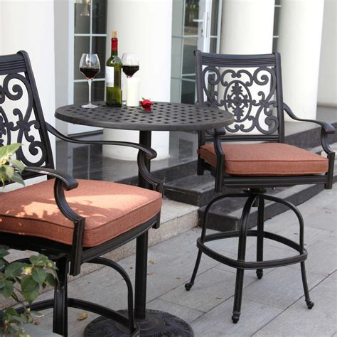 Bar Height Patio Furniture Sets Darlee St 3 Cast Aluminum Patio Counter Height Bar Set With Swivel Bar Stools