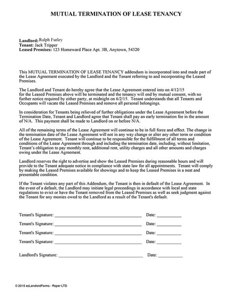 Termination Of Lease Agreement Letter Termination Of Lease Tenancy Ez Landlord Forms Letter Sle And