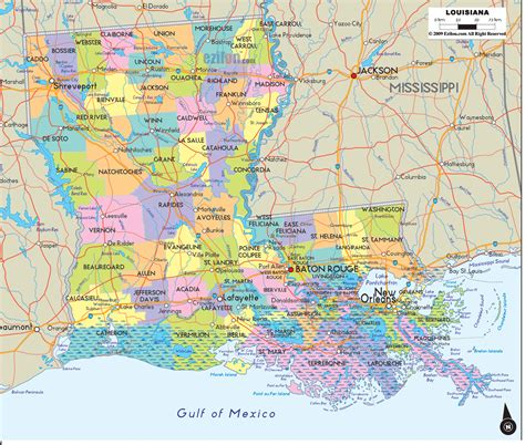 map of louisiana cities political map of louisiana ezilon maps