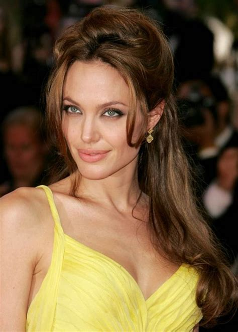 angelina jolie long hairstyle half up half down with side