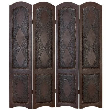 Leather Trimmed Upholstery - home decor ideas four panel wood room divider with a