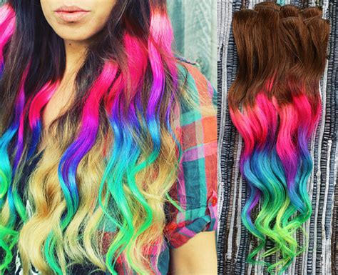 Color Tip Hair Weave | neon dream clip in hair extensions ombre hair tie dye tips