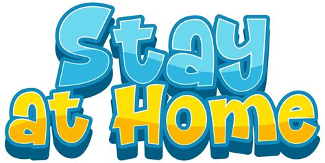 word stay  home  white background