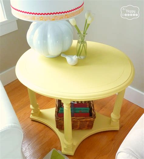 chalk painted end tables mellow yellow diy chalk paint side table the happy housie