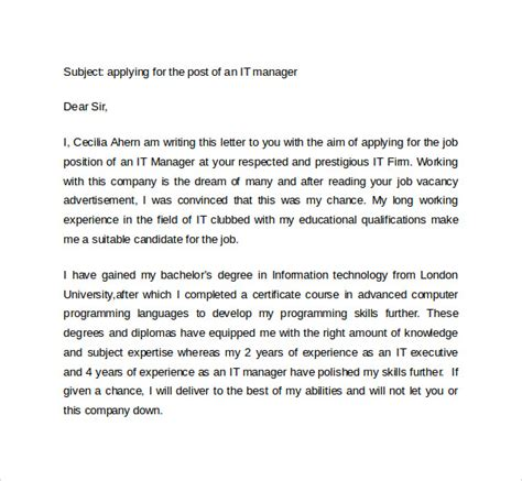 It Cover Letter 7 It Cover Letter Templates Free Sle Exle Format