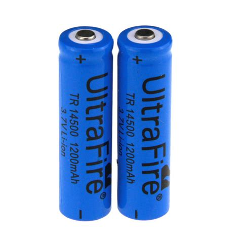 Battery Li Ion 14500 1200 Mah ultrafire 14500 quot 1200mah quot 3 7v rechargeable li ion battery blue 2pcs free shipping dealextreme
