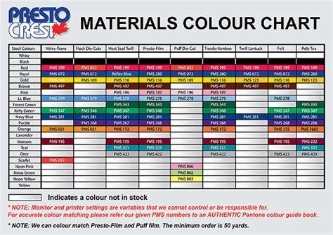 material color materials colour chart