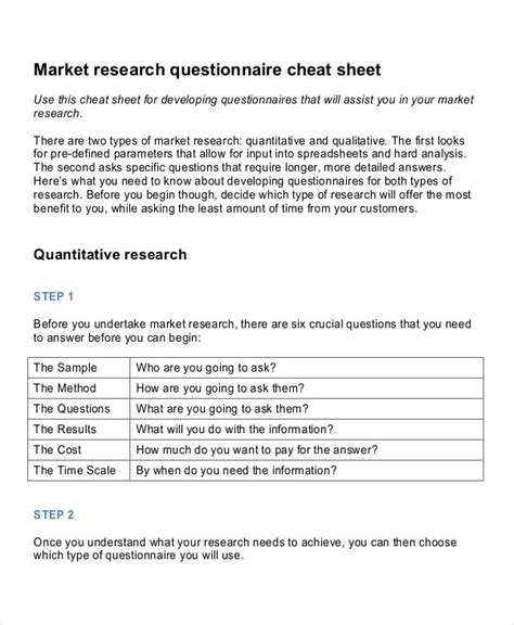 7 Marketing Research Questionnaire Exles Sles Research Survey Template