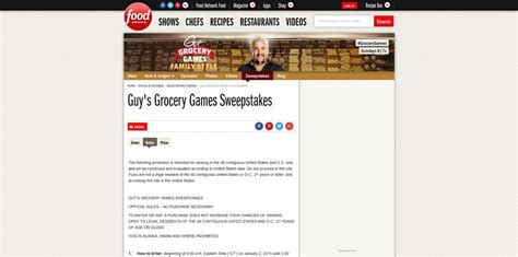 Foodnetwork Sweepstakes - guy s grocery games sweepstakes foodnetwork com grocerysweeps
