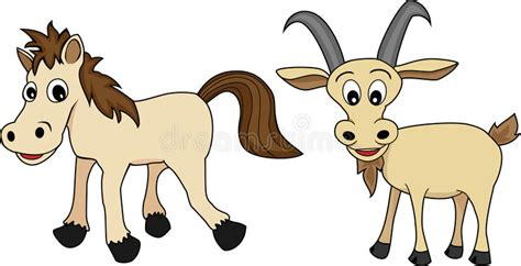 chinese zodiac set  horse  goat stock vector illustration  clip friend