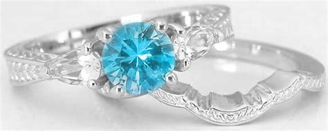 Blue White Gr6071 three engraved swiss blue topaz white sapphire engagement ring and engraved wedding band