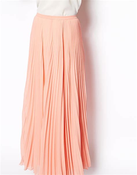 maxi skirt pleated fashion skirts asos pleated maxi skirt in pink lyst