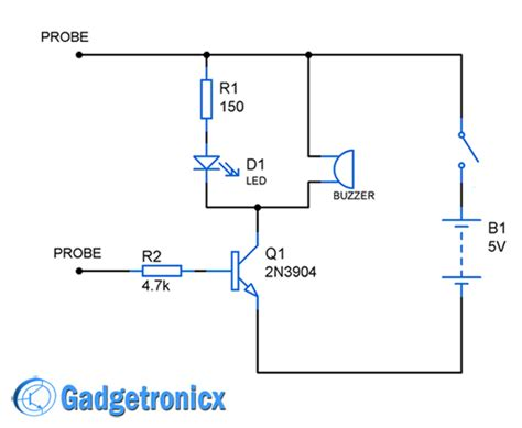 transistor driver circuit for buzzer building your own continuity tester circuit using npn transistor buzzer led for audible