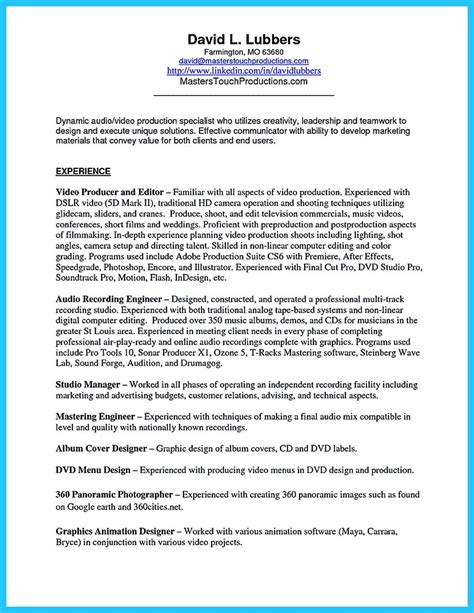Audio Engineer Cover Letter by Audio Resume Sle