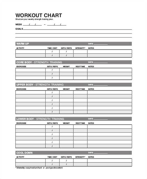 workout char template workout chart templates 8 free word excel pdf