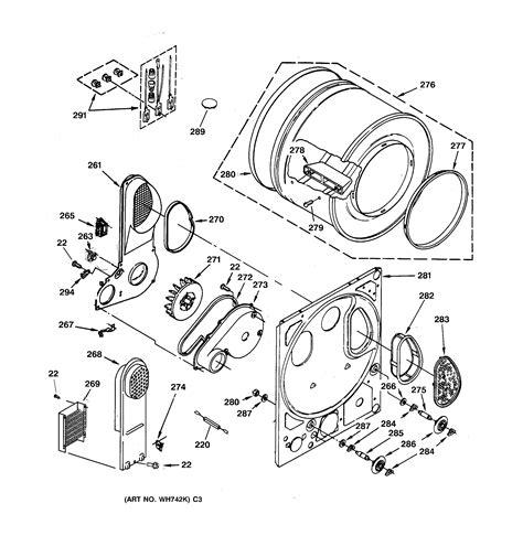 ge dryer parts diagram dryer drum back panel diagram parts list for model