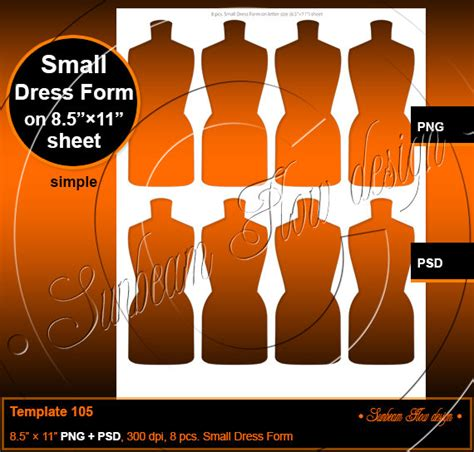 dress form template instant small dress form template 105 printable