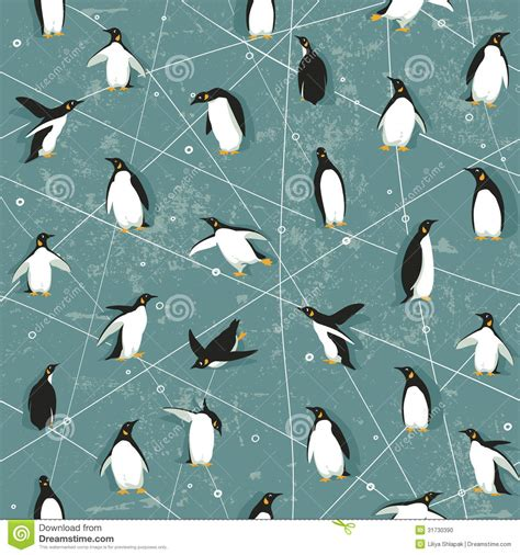penguin pattern stock vector illustration  backdrop