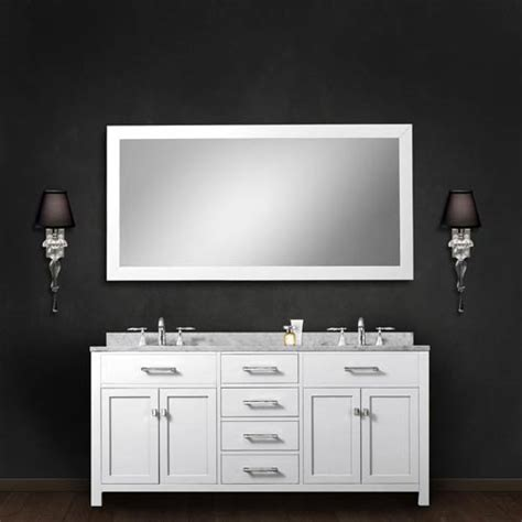 60 inch mirror bathroom madison pure white 60 inch double sink bathroom vanity with matching framed mirror