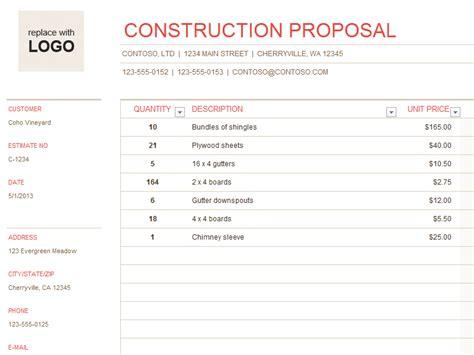buildingconstruction quotation template quote template