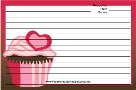 cupcake recipe cards templates this pink cupcake recipe card features a cupcake