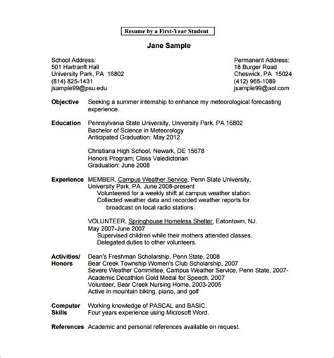 resume template for college student microsoft word 12 college resume templates pdf doc free premium
