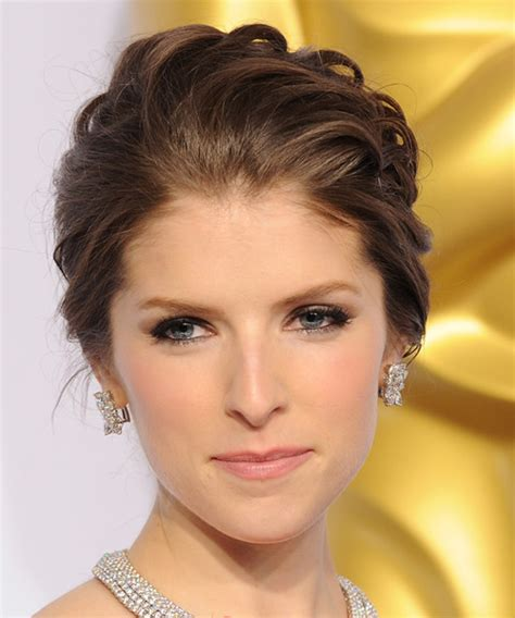 brunette hairstyles updos anna kendrick long wavy formal wedding updo hairstyle