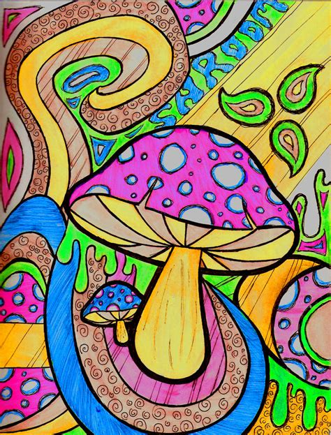 trippy shroom art car interior design