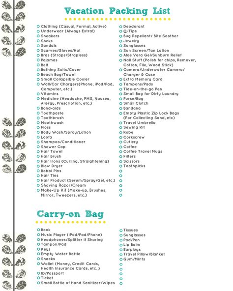 Sle Travel Checklist Travel Packing List Sle Travel cabin trip packing list page 28 images free printable vacation packing lists quotes cabin