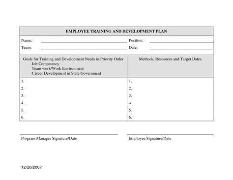 employee development plan template best photos of employee career development plan exles