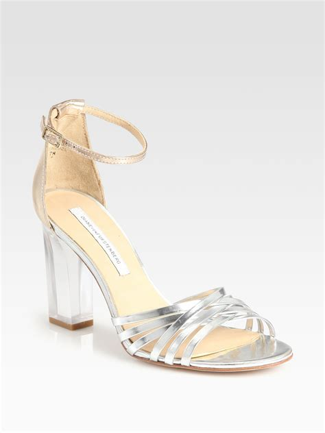 acrylic sandals diane furstenberg priene mirror leather lucite heel