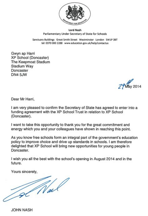 Fundraising Confirmation Letter confirmation of funding agreement xp school doncaster