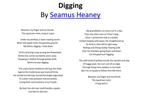 Seamus Heaney Essay by Digging By Seamus Heaney Analysis E